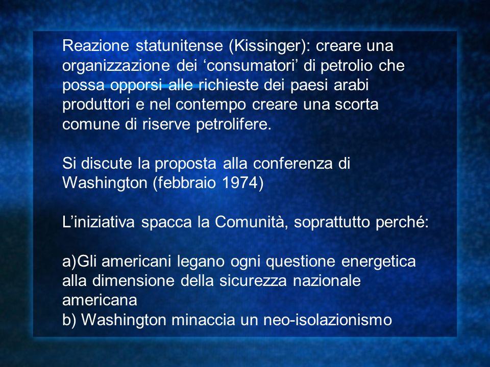 LAgenzia internazionale per lenergia nasce nel 1974, senza la Francia (che a Washington aveva rappresentato la linea dura contro gli americani, a favore del dialogo euro-arabo) Kissinger dimostra quindi: a)La debolezza e la divisione in politica estera e su questioni strategiche degli europei b)La persistente capacità degli Stati Uniti di orientare le decisioni europee e il processo di formazione di una politica estera europea
