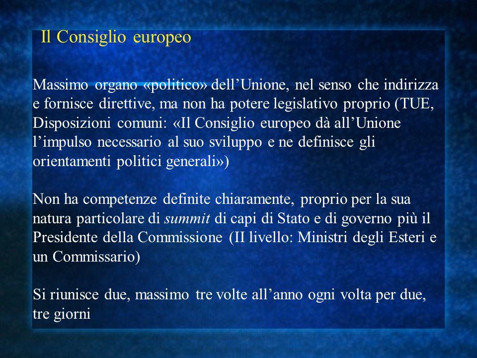 Il Consiglio europeo Massimo organo «politico» dellUnione, nel senso che indirizza e fornisce direttive, ma non ha potere legislativo proprio (TUE, Di