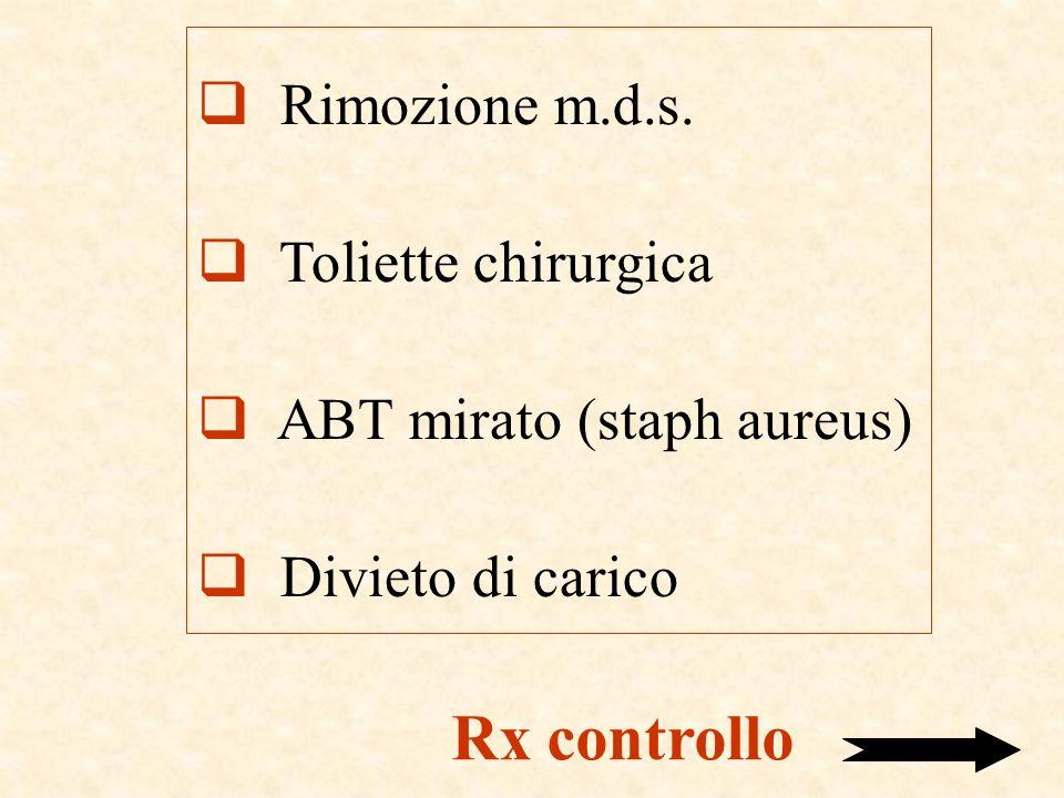 Rimozione m.d.s. Toliette chirurgica ABT mirato (staph aureus) Divieto di carico Rx controllo