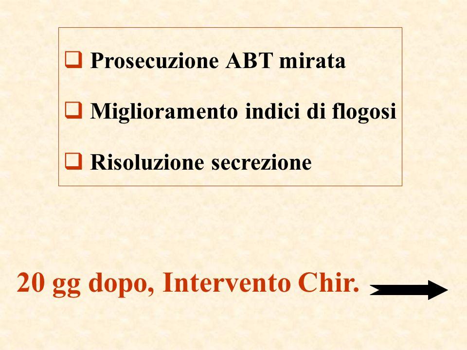 Prosecuzione ABT mirata Miglioramento indici di flogosi Risoluzione secrezione 20 gg dopo, Intervento Chir.