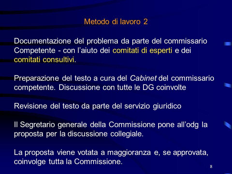 8 Metodo di lavoro 2 Documentazione del problema da parte del commissario Competente - con laiuto dei comitati di esperti e dei comitati consultivi. P