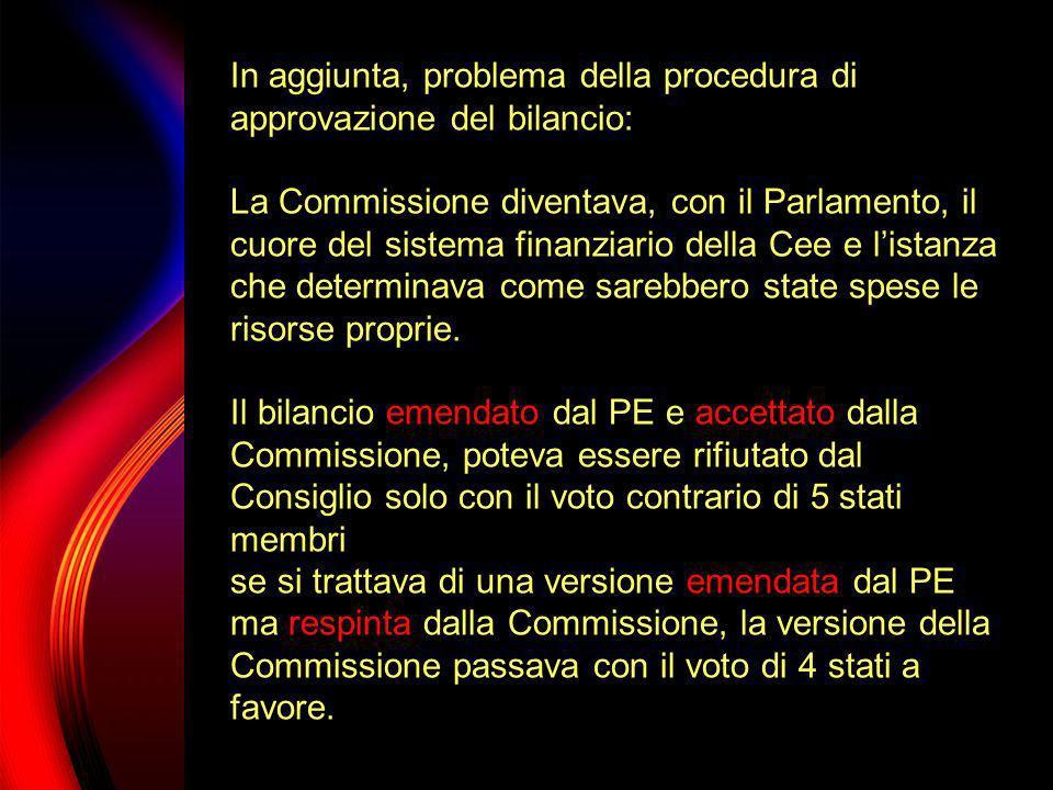 In aggiunta, problema della procedura di approvazione del bilancio: La Commissione diventava, con il Parlamento, il cuore del sistema finanziario dell