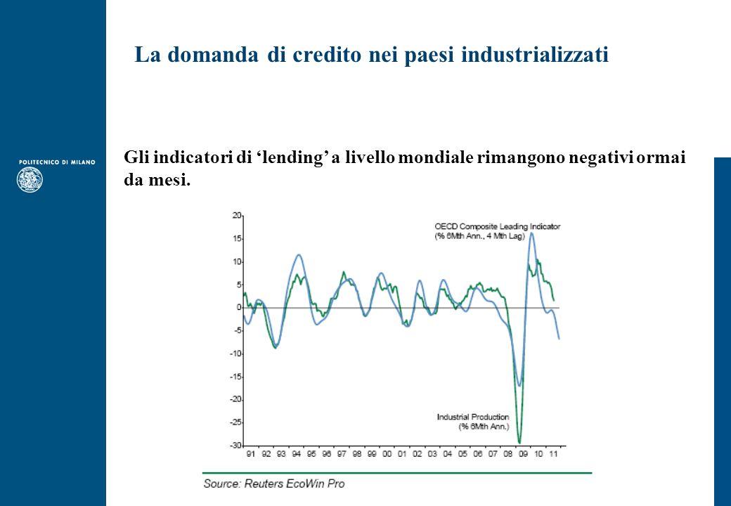 La domanda di credito nei paesi industrializzati Gli indicatori di lending a livello mondiale rimangono negativi ormai da mesi.