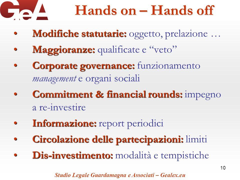 10 Hands on – Hands off Modifiche statutarie:Modifiche statutarie: oggetto, prelazione … Maggioranze:Maggioranze: qualificate e veto Corporate governa