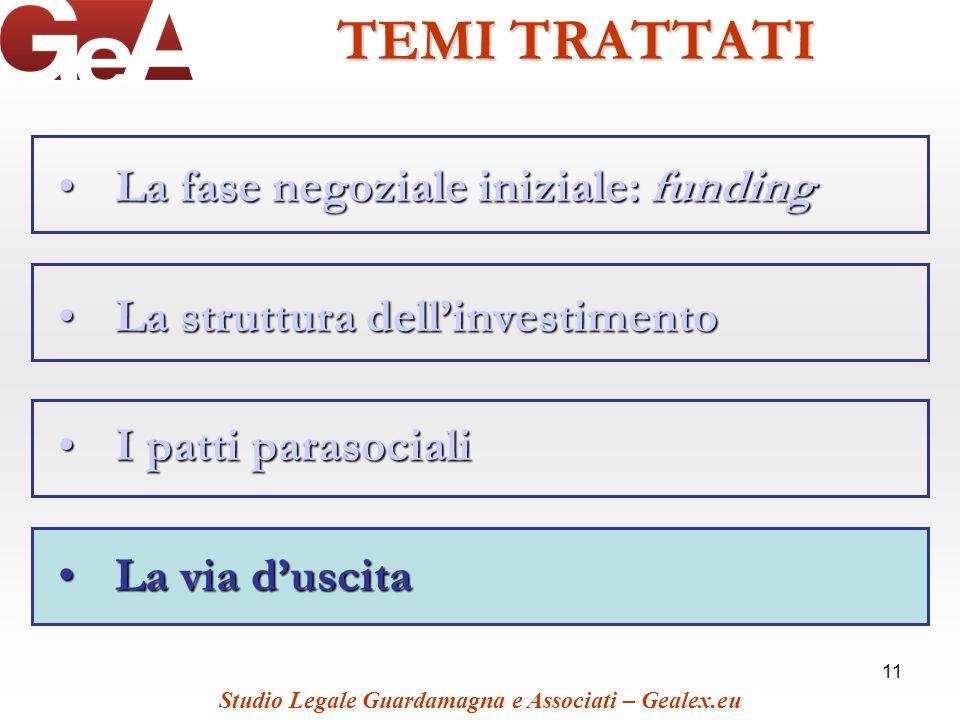 11 TEMI TRATTATI La fase negoziale iniziale: fundingLa fase negoziale iniziale: funding La struttura dellinvestimentoLa struttura dellinvestimento I p