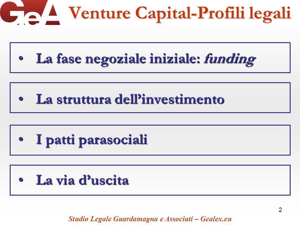 2 Venture Capital-Profili legali La fase negoziale iniziale: fundingLa fase negoziale iniziale: funding La struttura dellinvestimentoLa struttura dell