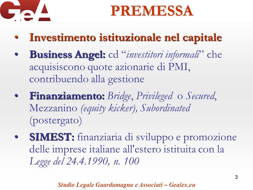 3PREMESSA Investimento istituzionale nel capitaleInvestimento istituzionale nel capitale Business Angel:Business Angel: cd investitori informali che a