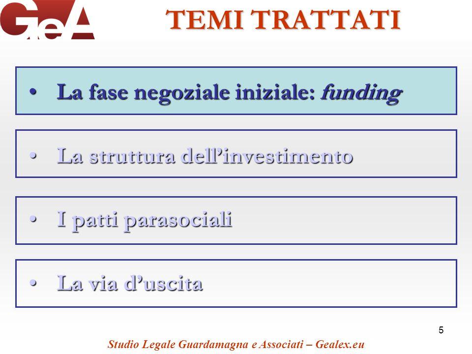 5 TEMI TRATTATI La fase negoziale iniziale: fundingLa fase negoziale iniziale: funding La struttura dellinvestimentoLa struttura dellinvestimento I pa