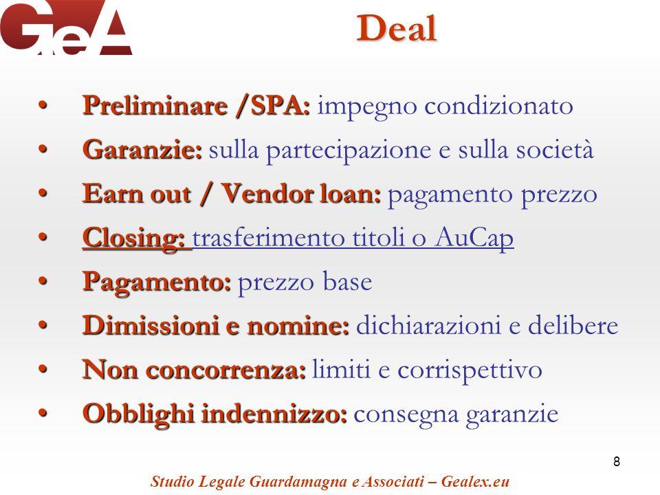 8Deal Preliminare /SPA:Preliminare /SPA: impegno condizionato Garanzie:Garanzie: sulla partecipazione e sulla società Earn out / Vendor loan:Earn out