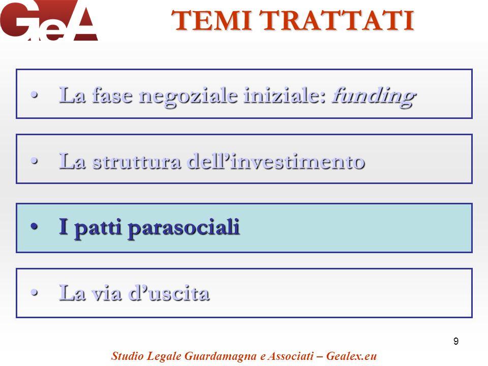 9 TEMI TRATTATI La fase negoziale iniziale: fundingLa fase negoziale iniziale: funding La struttura dellinvestimentoLa struttura dellinvestimento I pa
