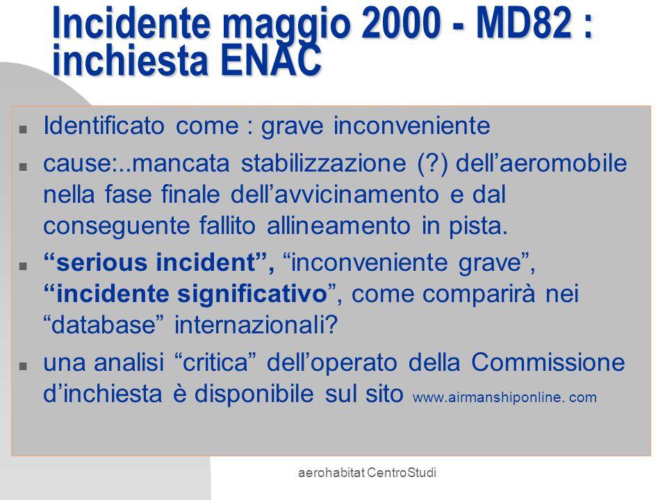 aerohabitat CentroStudi Incidente maggio 2000 - MD82 : inchiesta ENAC n Identificato come : grave inconveniente n cause:..mancata stabilizzazione (?)