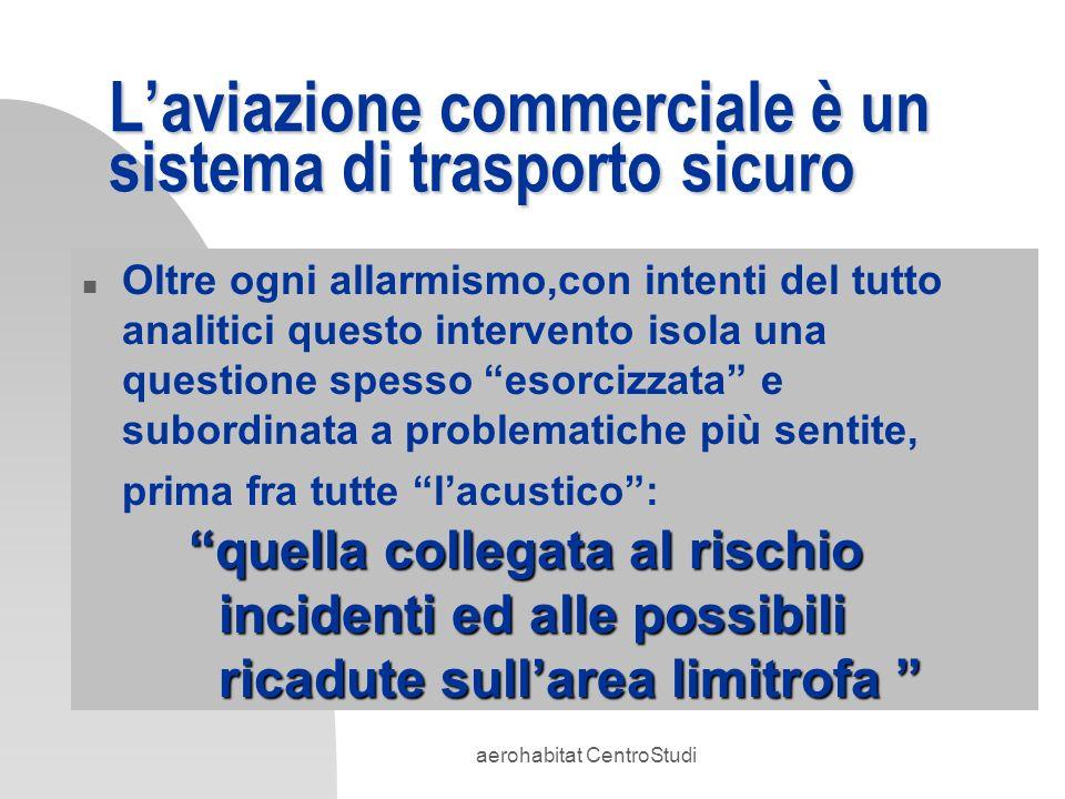 aerohabitat CentroStudi Laviazione commerciale è un sistema di trasporto sicuro n Sicurezza del volo: aumenta n Rateo incidenti: cala n Aeroporti: sono più sicuri