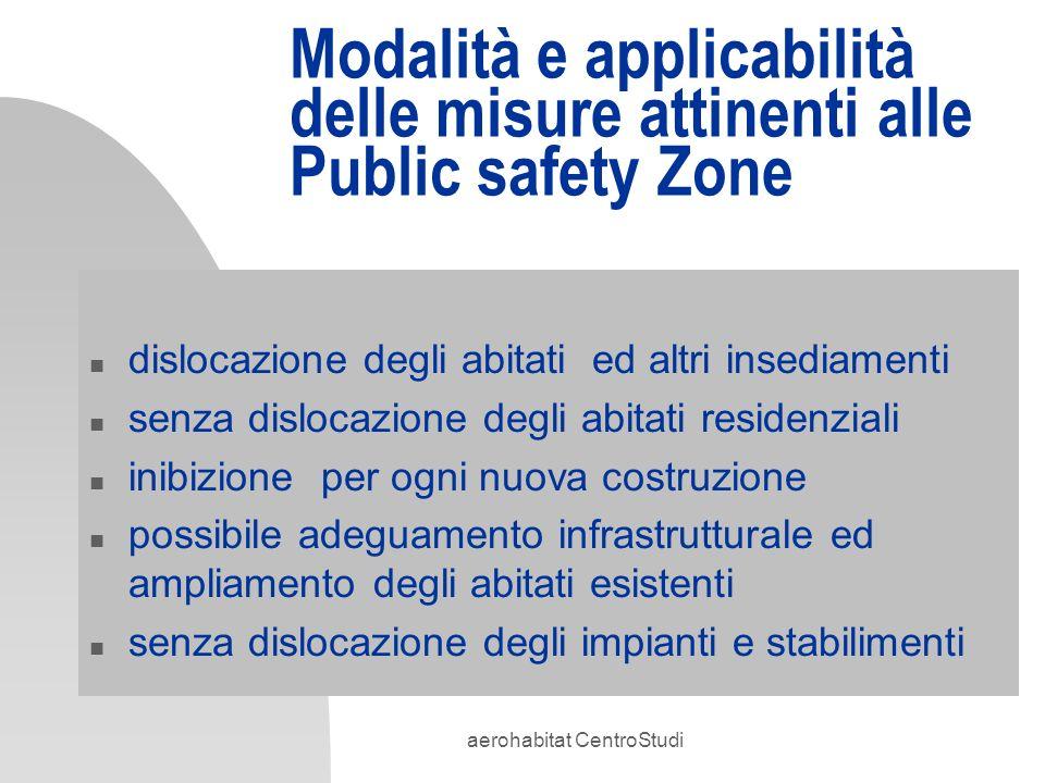 aerohabitat CentroStudi Modalità e applicabilità delle misure attinenti alle Public safety Zone n dislocazione degli abitati ed altri insediamenti n s