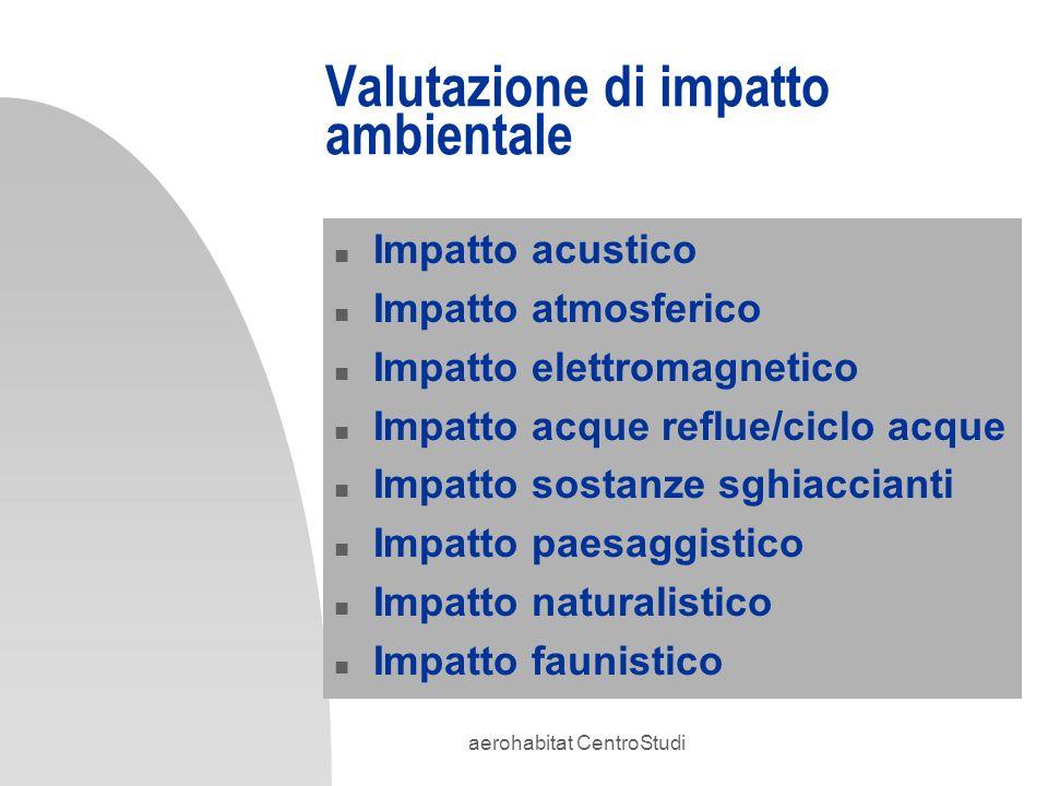aerohabitat CentroStudi Valutazione di impatto ambientale n Impatto acustico n Impatto atmosferico n Impatto elettromagnetico n Impatto acque reflue/c