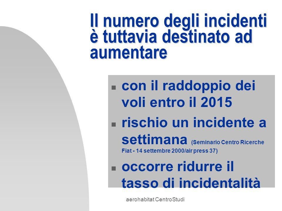 aerohabitat CentroStudi Il numero degli incidenti è tuttavia destinato ad aumentare n con il raddoppio dei voli entro il 2015 n rischio un incidente a