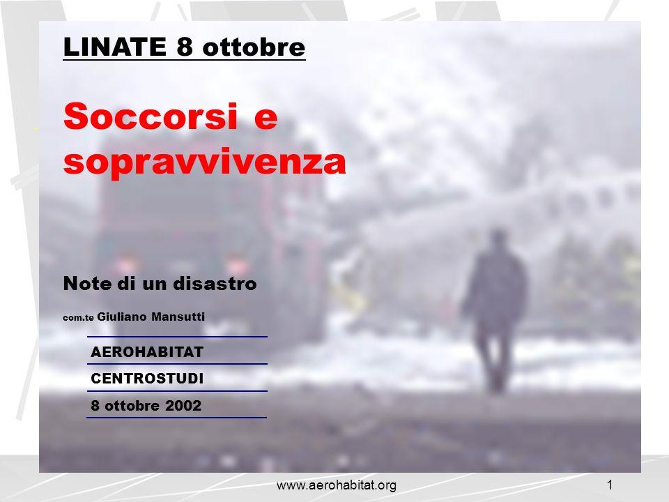 www.aerohabitat.org1 LINATE 8 ottobre Soccorsi e sopravvivenza Note di un disastro com.te Giuliano Mansutti AEROHABITAT CENTROSTUDI 8 ottobre 2002