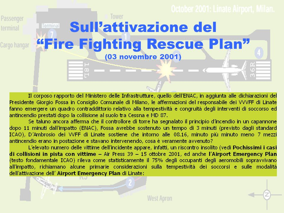 www.aerohabitat.org11 Sullattivazione del Fire Fighting Rescue Plan (03 novembre 2001)