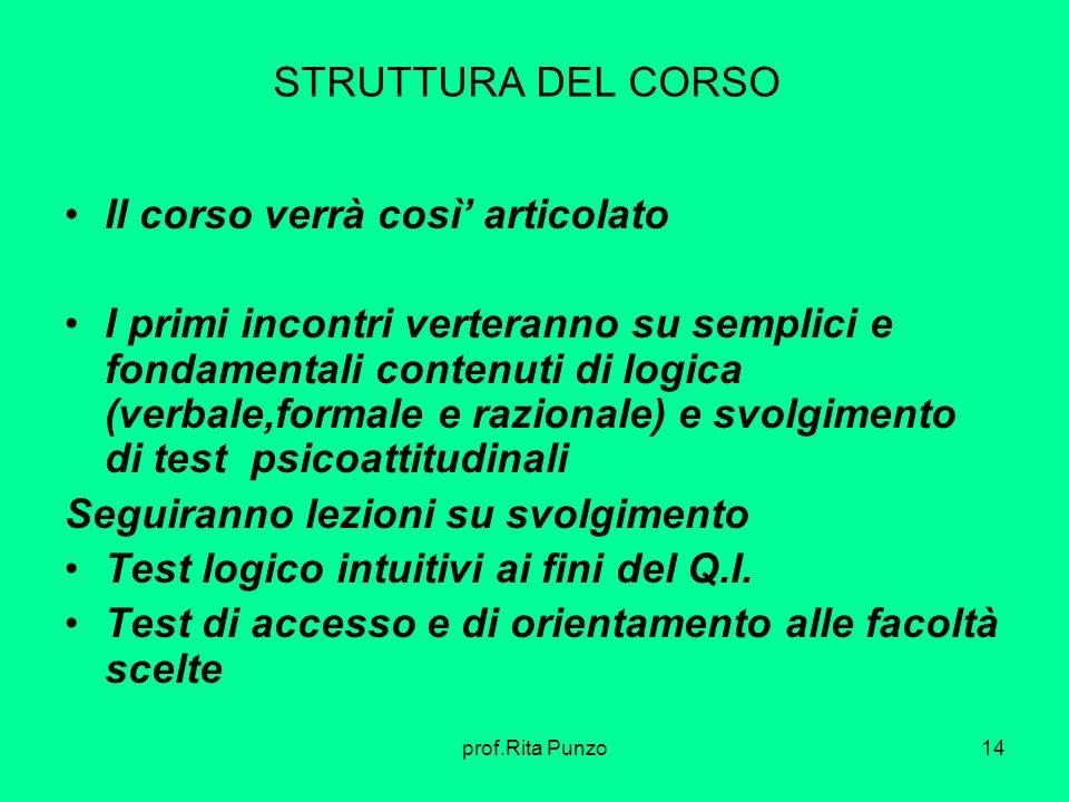 prof.Rita Punzo14 STRUTTURA DEL CORSO Il corso verrà così articolato I primi incontri verteranno su semplici e fondamentali contenuti di logica (verba