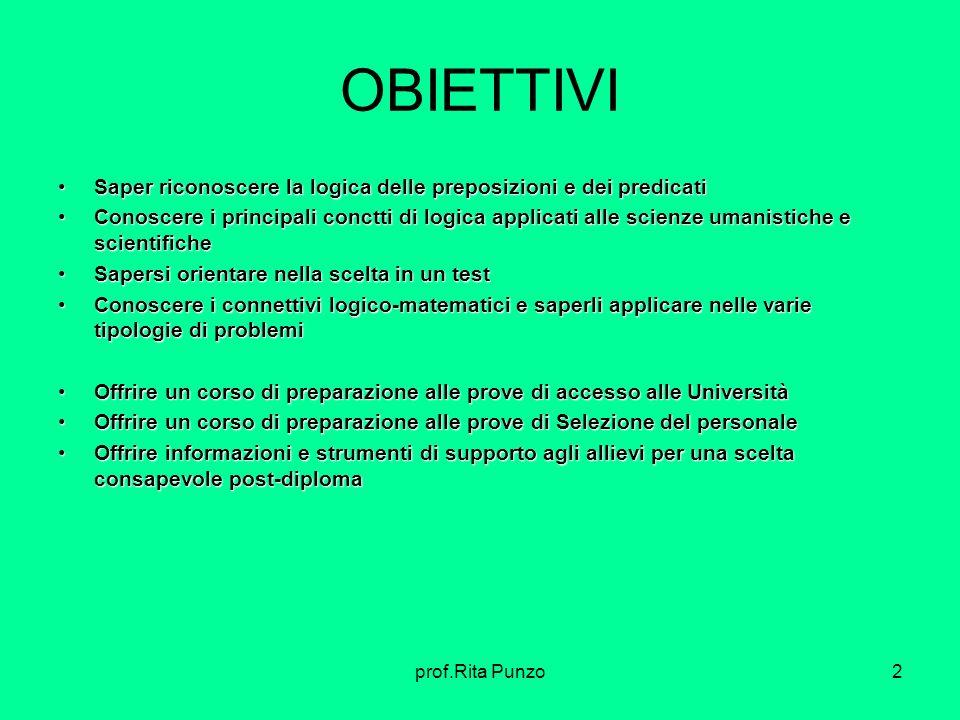 prof.Rita Punzo2 OBIETTIVI Saper riconoscere la logica delle preposizioni e dei predicatiSaper riconoscere la logica delle preposizioni e dei predicat