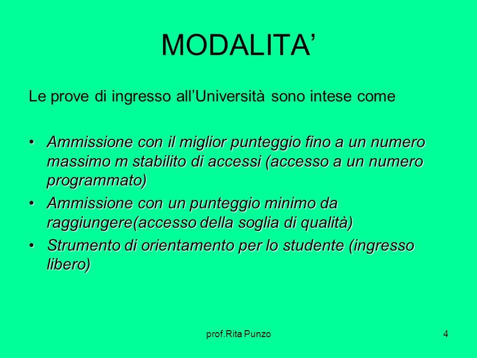 prof.Rita Punzo4 MODALITA Le prove di ingresso allUniversità sono intese come Ammissione con il miglior punteggio fino a un numero massimo m stabilito
