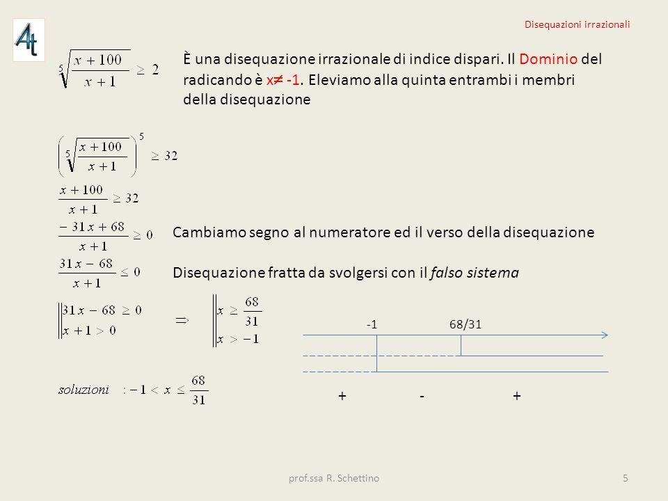 È una disequazione irrazionale di indice dispari. Il Dominio del radicando è x -1. Eleviamo alla quinta entrambi i membri della disequazione Cambiamo