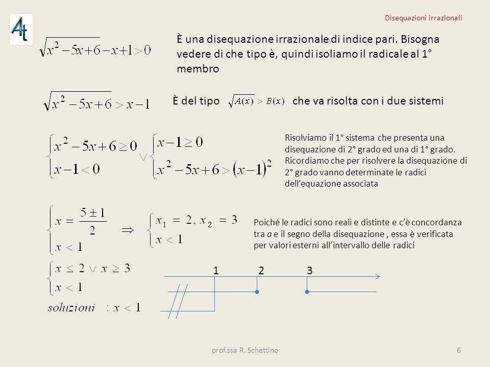 È una disequazione irrazionale di indice pari. Bisogna vedere di che tipo è, quindi isoliamo il radicale al 1° membro È del tipo che va risolta con i
