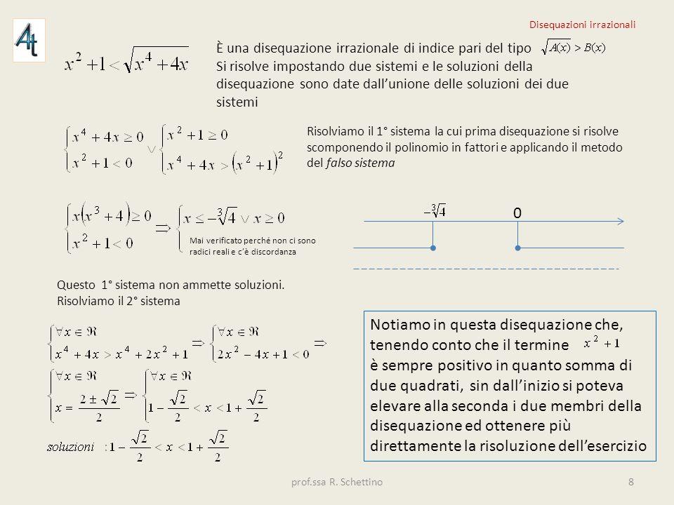È una disequazione irrazionale di indice pari del tipo Si risolve impostando due sistemi e le soluzioni della disequazione sono date dallunione delle