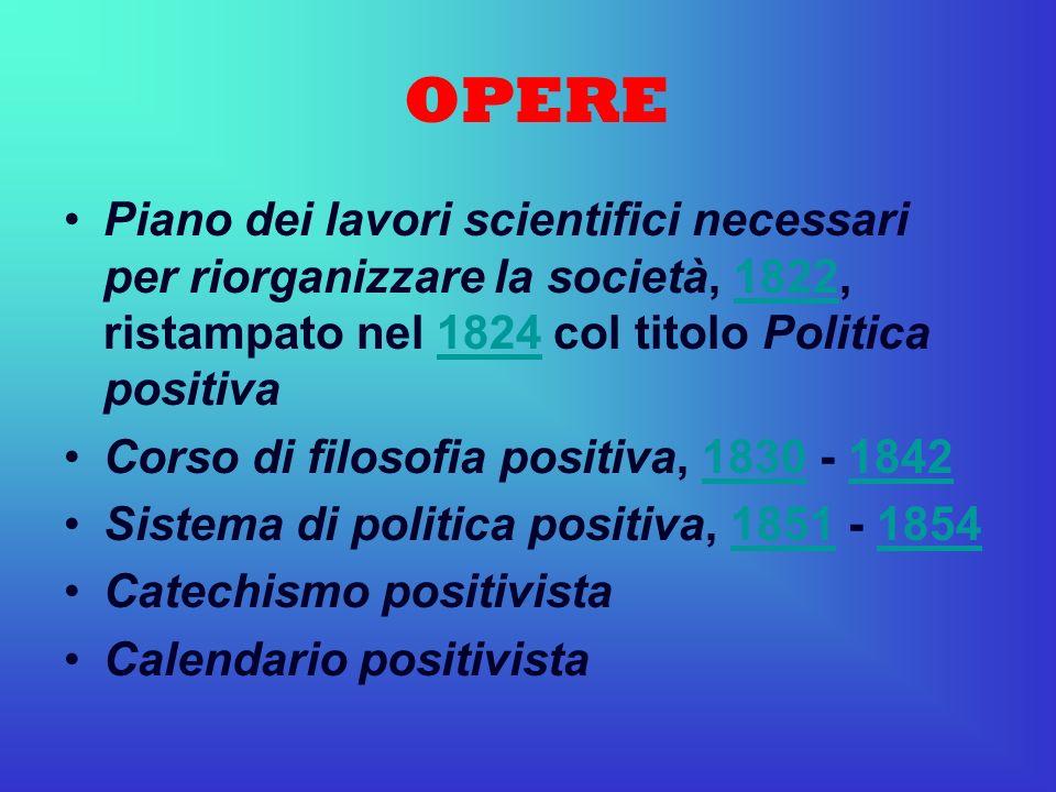 OPERE Piano dei lavori scientifici necessari per riorganizzare la società, 1822, ristampato nel 1824 col titolo Politica positiva18221824 Corso di fil