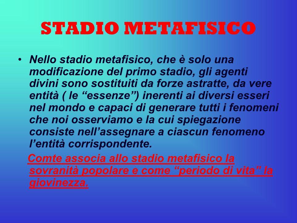 STADIO METAFISICO Nello stadio metafisico, che è solo una modificazione del primo stadio, gli agenti divini sono sostituiti da forze astratte, da vere