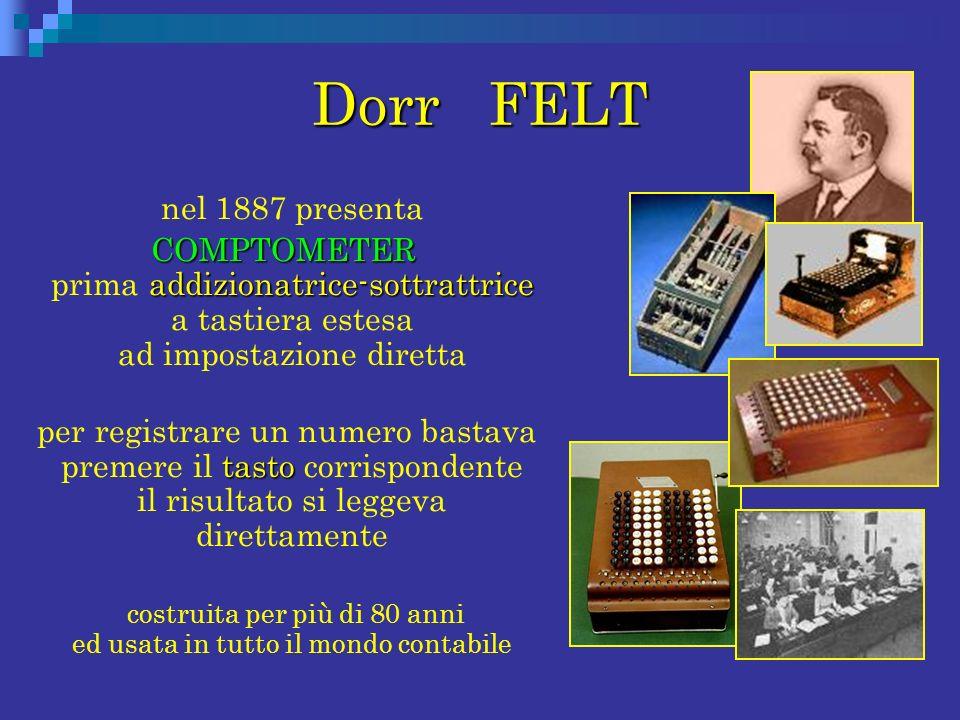 Dorr FELT nel 1887 presenta COMPTOMETER addizionatrice-sottrattrice COMPTOMETER prima addizionatrice-sottrattrice a tastiera estesa ad impostazione di