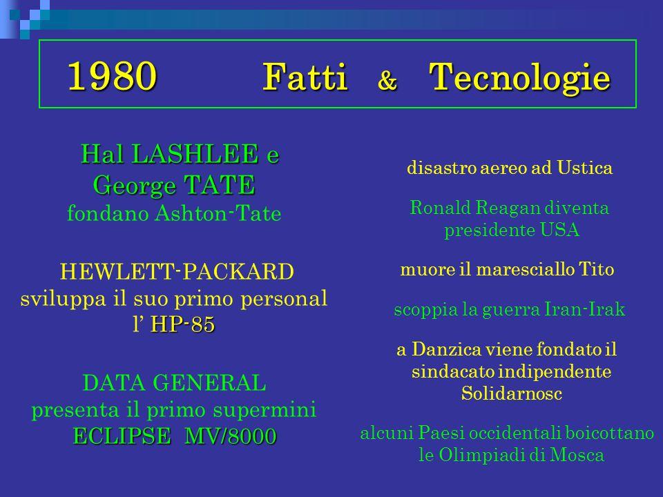 1980 Fatti & Tecnologie Hal LASHLEE e George TATE Hal LASHLEE e George TATE fondano Ashton-Tate HP-85 HEWLETT-PACKARD sviluppa il suo primo personal l