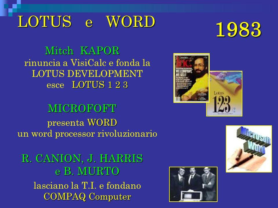 1983 LOTUS e WORD LOTUS e WORD Mitch KAPOR LOTUS 1 2 3 Mitch KAPOR rinuncia a VisiCalc e fonda la LOTUS DEVELOPMENT esce LOTUS 1 2 3 MICROFOFT WORD pr
