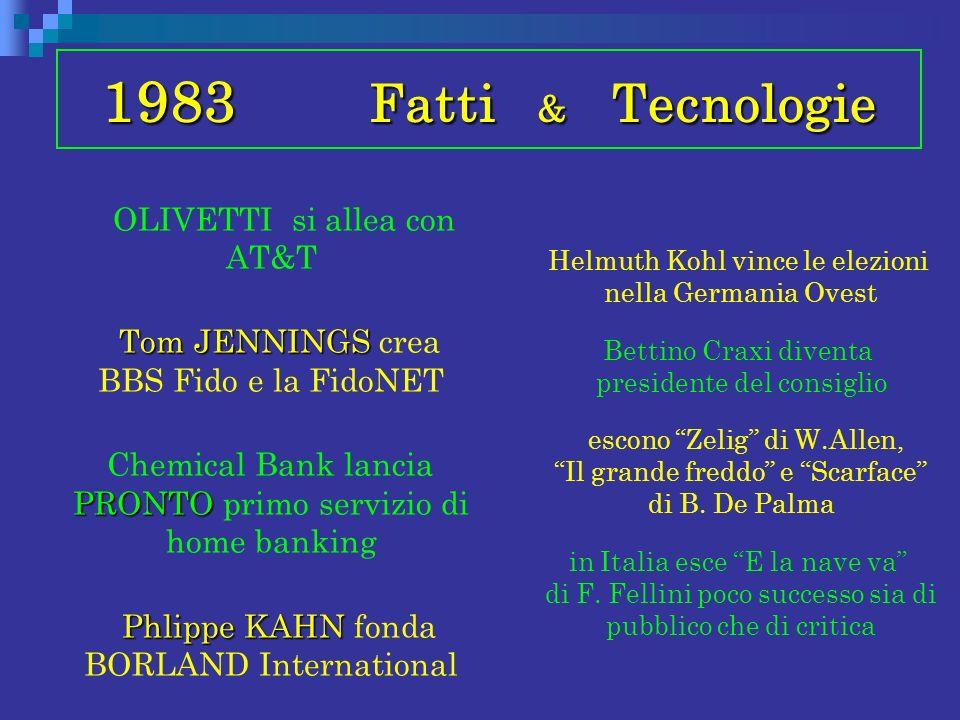 1983 Fatti & Tecnologie OLIVETTI si allea con AT&T Tom JENNINGS Tom JENNINGS crea BBS Fido e la FidoNET PRONTO Chemical Bank lancia PRONTO primo servi