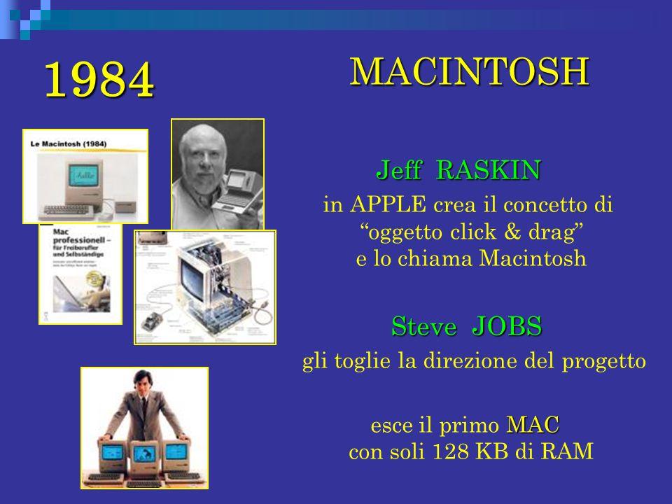 1984 MACINTOSH MACINTOSH Jeff RASKIN in APPLE crea il concetto di oggetto click & drag e lo chiama Macintosh Steve JOBS Steve JOBS gli toglie la direz