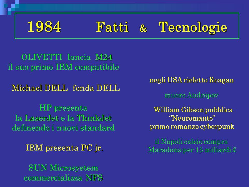 1984 Fatti & Tecnologie M24 OLIVETTI lancia M24 il suo primo IBM compatibile Michael DELL Michael DELL fonda DELL LaserJetThinkJet HP presenta la Lase