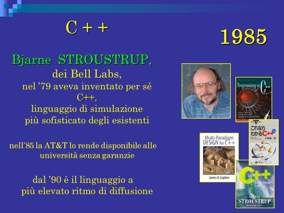 1985 C + + C + + Bjarne STROUSTRUP, C++, Bjarne STROUSTRUP, dei Bell Labs, nel 79 aveva inventato per sé C++, linguaggio di simulazione più sofisticat