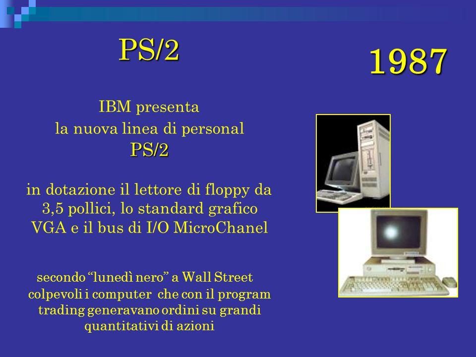 1987 PS/2 PS/2 PS/2 IBM presenta la nuova linea di personal PS/2 in dotazione il lettore di floppy da 3,5 pollici, lo standard grafico VGA e il bus di