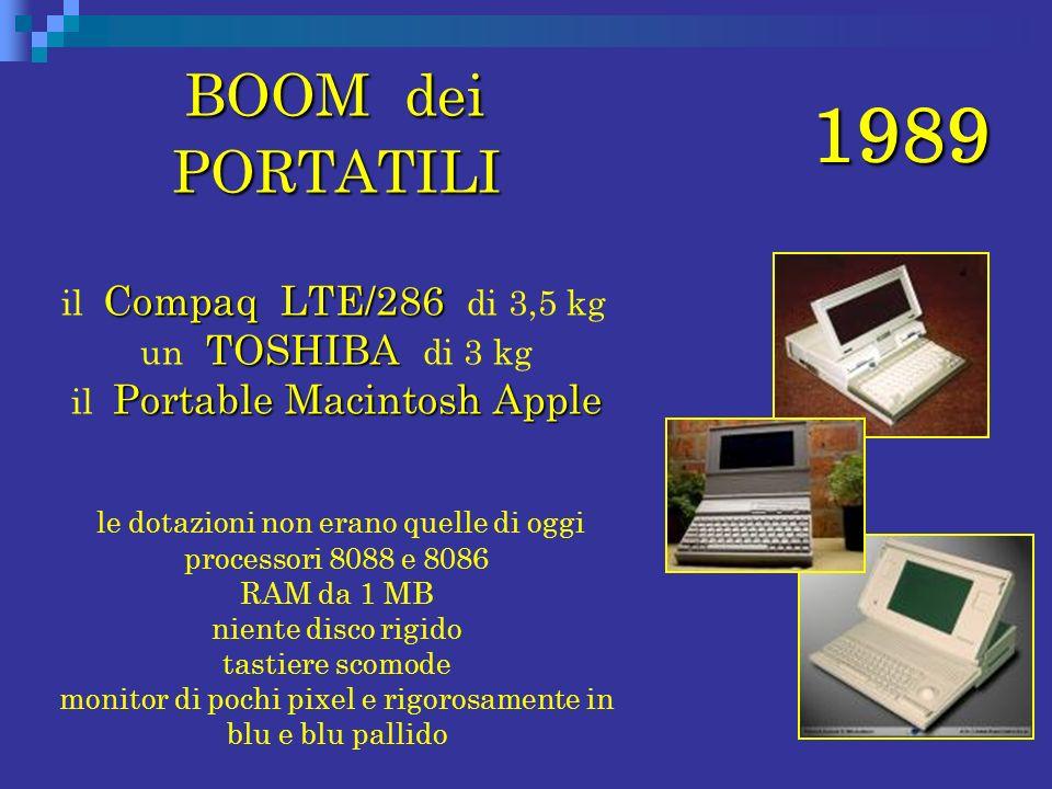 1989 BOOM dei PORTATILI BOOM dei PORTATILI Compaq LTE/286 TOSHIBA Portable Macintosh Apple il Compaq LTE/286 di 3,5 kg un TOSHIBA di 3 kg il Portable