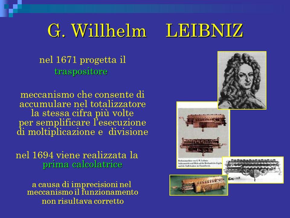 G. Willhelm LEIBNIZ nel 1671 progetta il traspositore meccanismo che consente di accumulare nel totalizzatore la stessa cifra più volte per semplifica
