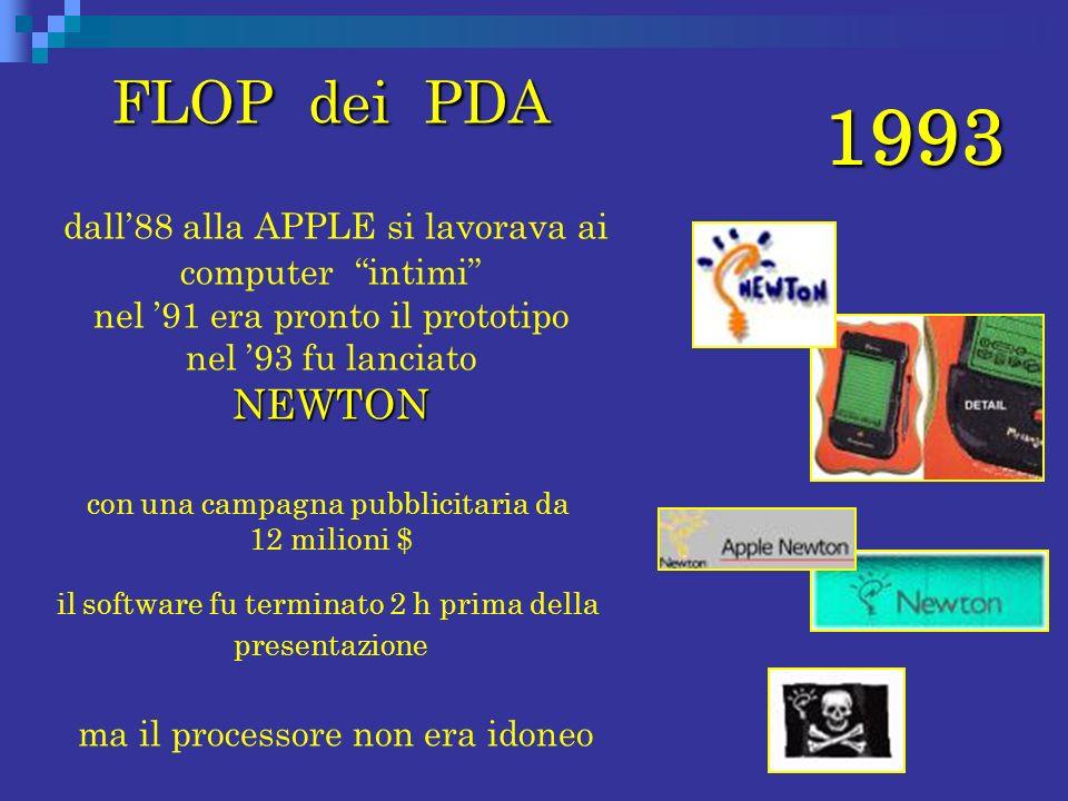 1993 FLOP dei PDA FLOP dei PDA NEWTON dall88 alla APPLE si lavorava ai computer intimi nel 91 era pronto il prototipo nel 93 fu lanciato NEWTON con un