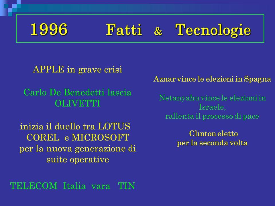 1996 Fatti & Tecnologie APPLE in grave crisi Carlo De Benedetti lascia OLIVETTI inizia il duello tra LOTUS COREL e MICROSOFT per la nuova generazione