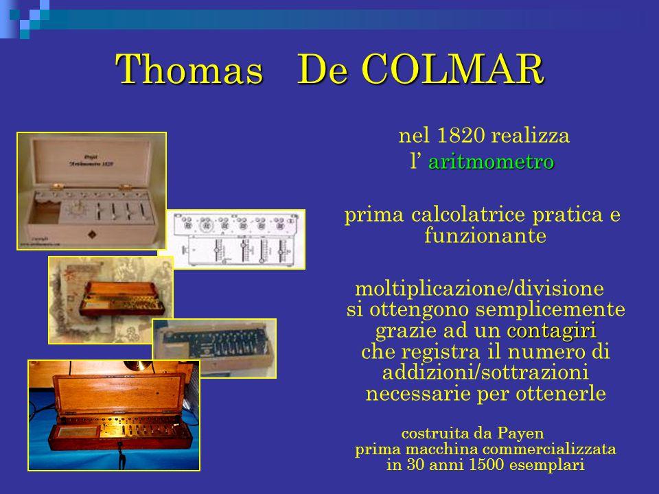 Thomas De COLMAR nel 1820 realizza aritmometro l aritmometro prima calcolatrice pratica e funzionante contagiri moltiplicazione/divisione si ottengono