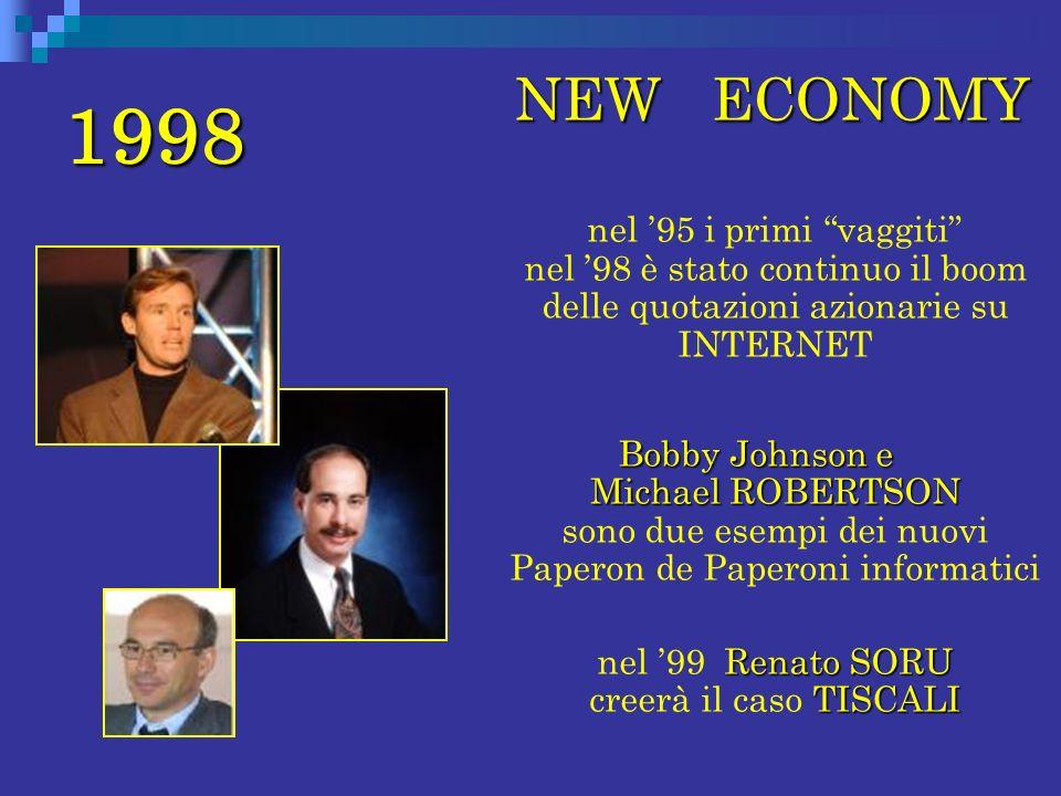 1998 NEW ECONOMY NEW ECONOMY nel 95 i primi vaggiti nel 98 è stato continuo il boom delle quotazioni azionarie su INTERNET Bobby Johnson e Michael ROB
