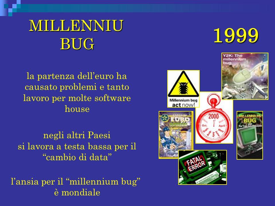 1999 MILLENNIU BUG MILLENNIU BUG la partenza delleuro ha causato problemi e tanto lavoro per molte software house negli altri Paesi si lavora a testa