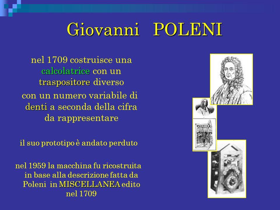 Giovanni POLENI Giovanni POLENI calcolatrice traspositore nel 1709 costruisce una calcolatrice con un traspositore diverso denti con un numero variabi
