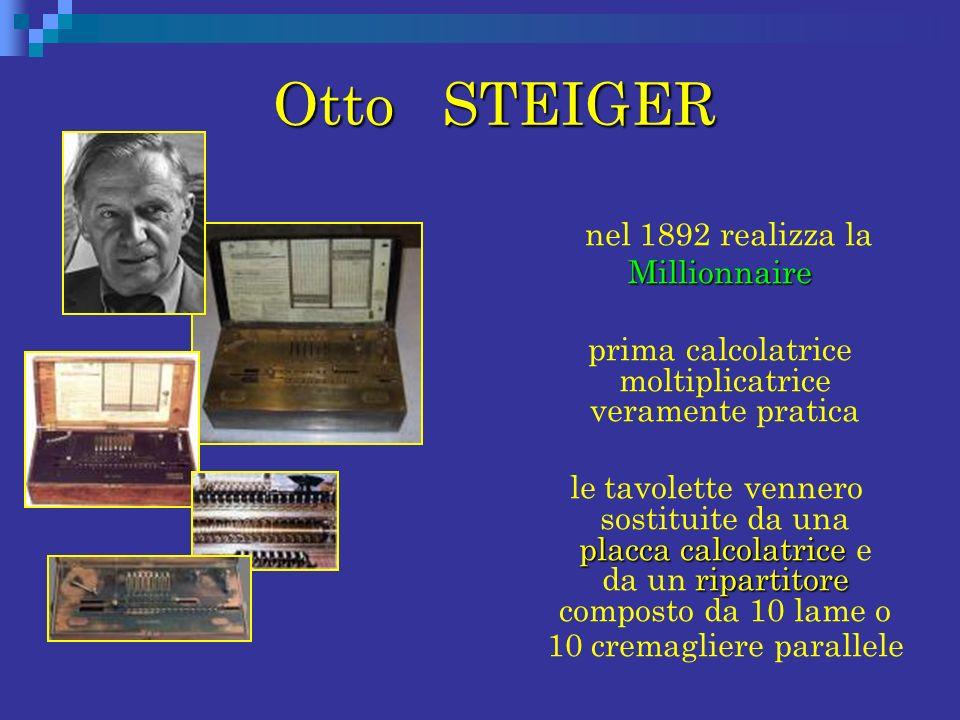 Otto STEIGER Otto STEIGER nel 1892 realizza la Millionnaire Millionnaire prima calcolatrice moltiplicatrice veramente pratica placca calcolatrice ripa