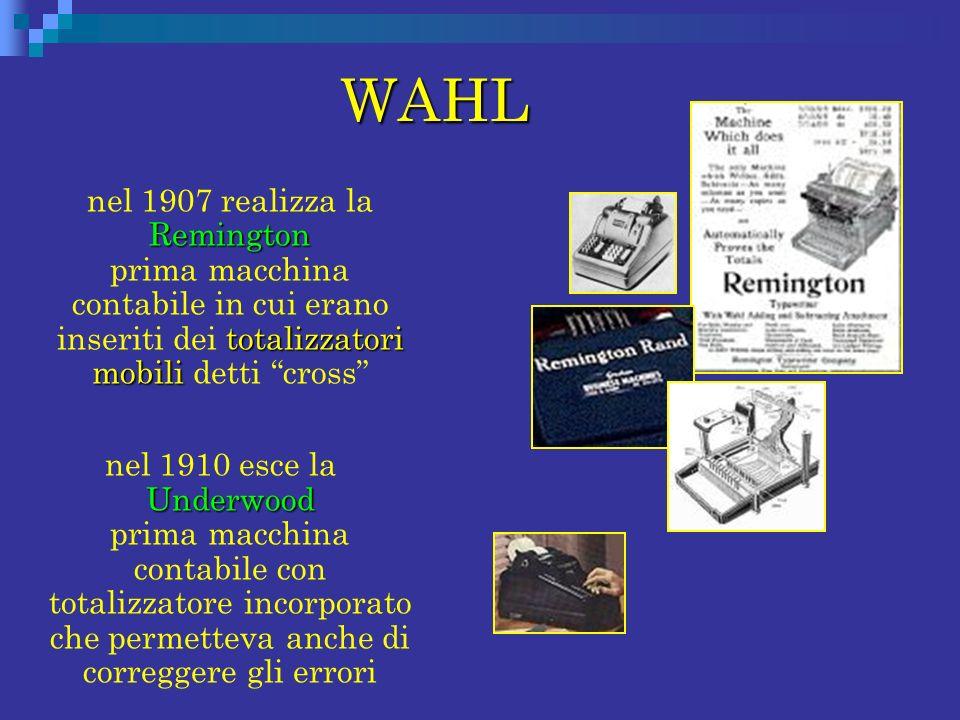 WAHL Remington totalizzatori mobili nel 1907 realizza la Remington prima macchina contabile in cui erano inseriti dei totalizzatori mobili detti cross