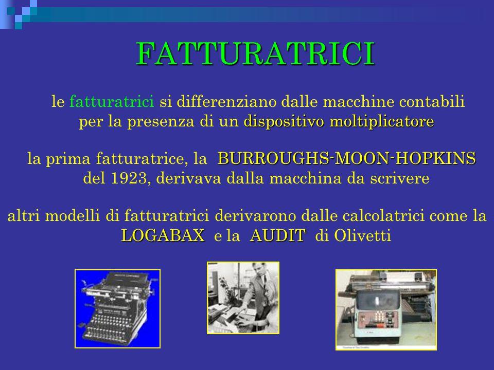 FATTURATRICI FATTURATRICI dispositivo moltiplicatore le fatturatrici si differenziano dalle macchine contabili per la presenza di un dispositivo molti