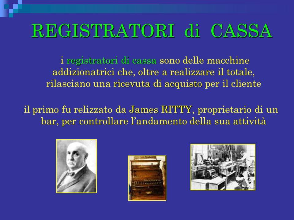 REGISTRATORI di CASSA REGISTRATORI di CASSA registratori di cassa ricevuta di acquisto i registratori di cassa sono delle macchine addizionatrici che,