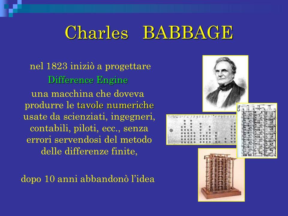 Charles BABBAGE Charles BABBAGE nel 1823 iniziò a progettare Difference Engine Difference Engine tavole numeriche una macchina che doveva produrre le